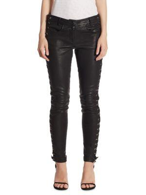 A.l.c Dent Leather Lace-up Skinny Pants In Black