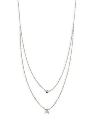 Ef Collection Diamond Bezel & Initial Pendant Necklace In White Gold