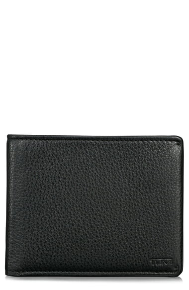 Tumi Nassau Global Double Billfold Wallet In Black Textured