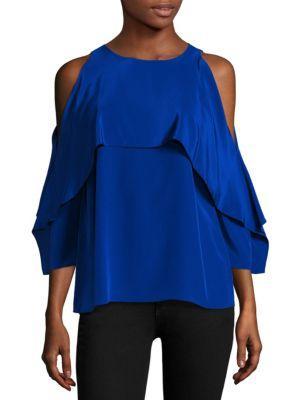 Bailey44 Baron High-neck Cold-shoulder Satin Blouse In Blue