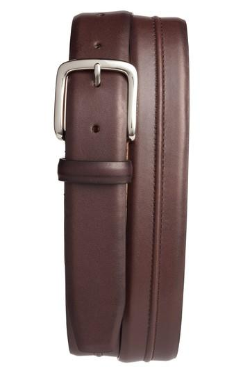 Cole Haan Pinched Seam Leather Belt In Chestnut