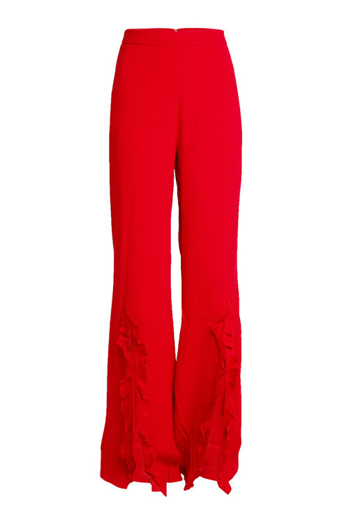 Saloni Crepe Pants With Ruffles In Red