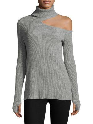 Roi Ribbed Cashmere Sweater In Heather Grey