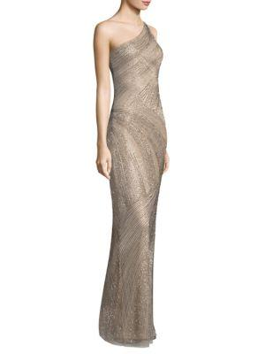 Parker Black Tasha One-shoulder Beaded Sequin Evening Gown In Beige
