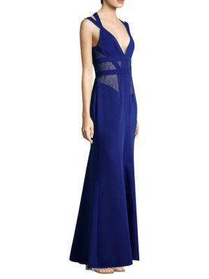 Bcbgmaxazria Sleeveless Lace Gown In Royal Blue