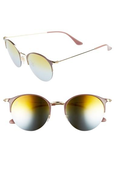 Ray Ban 50mm Round Sunglasses - Gold Top/ Green Gradient