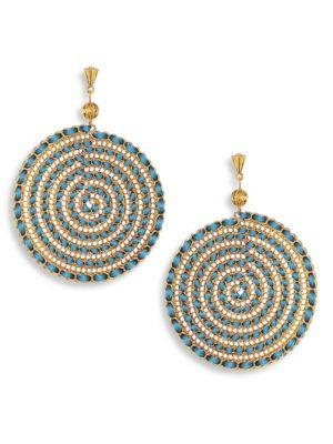 Ettika Teal Swirl Chain Earrings In Gold-blue
