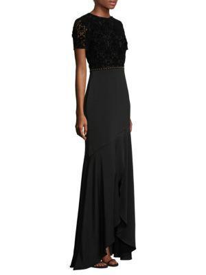 Shoshanna Velvet Lace Gown In Black