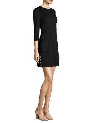 Trina Turk Button-detail Ponte Sheath Dress In Black