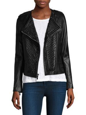 Nour Hammour Erin Studded Leather Moto Jacket In Black