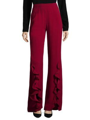 Saloni Sable Cady Pants In Carmine Red