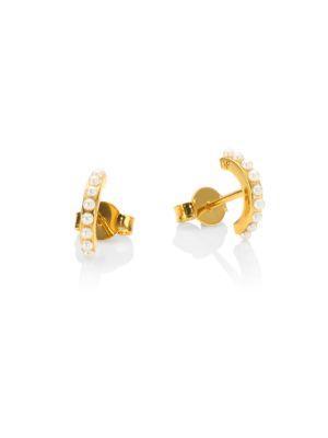 Vita Fede Luna Faux-pearl Stud Earrings In Yellow Gold