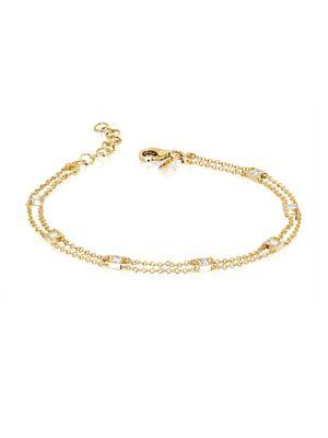 Ef Collection Lucky 7 Diamond Baguette Chain Bracelet In Yellow Gold
