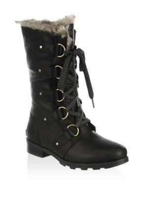 5d3d1f1e35cf09 Sorel Emelie Waterproof Lace Up Boot With Faux Fur Trim In Black ...