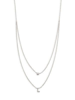 Ef Collection Diamond Bezel & Initial Pendant Necklace In L