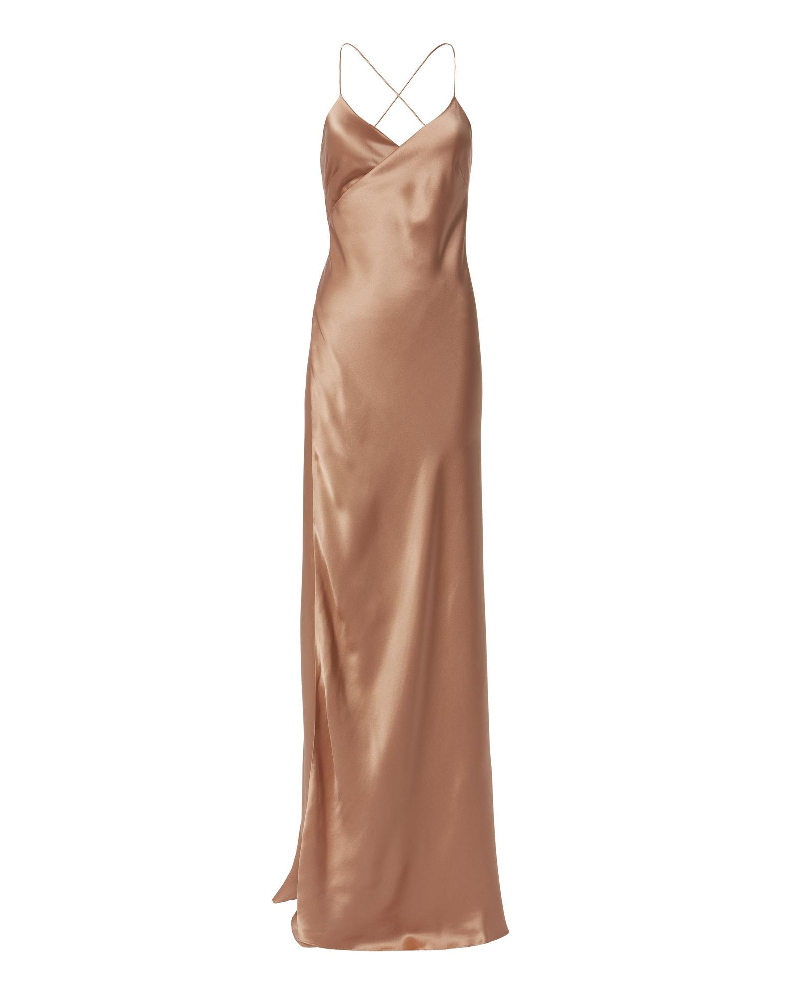Michelle Mason Terracotta Wrap Gown
