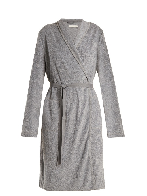 Skin French Terry-towelling Robe In Grey