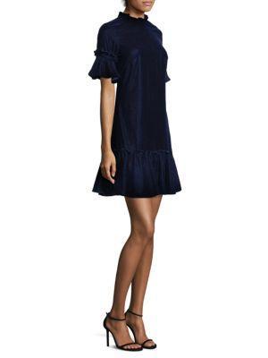 Shoshanna Velvet Fit-&-flare Dress In Navy