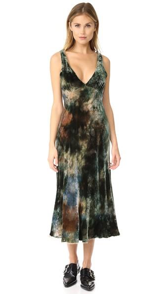 Raquel Allegra Tulip Dress In Forrest Tie-dye