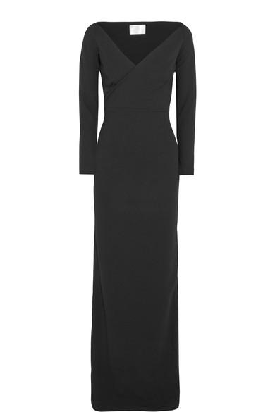 Solace London Victorie Off-the-shoulder Stretch-crepe Gown In Black