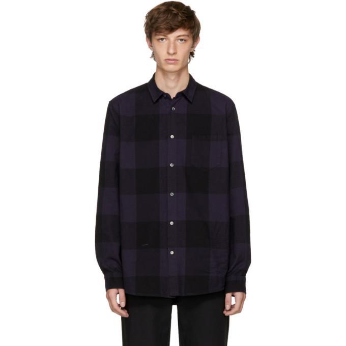 Robert Geller Navy Dyed Plaid Shirt In 049 - Navy