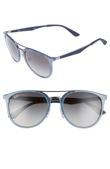 Ray Ban Ray-ban Unisex Brow Bar Square Sunglasses, 55mm In Crystal