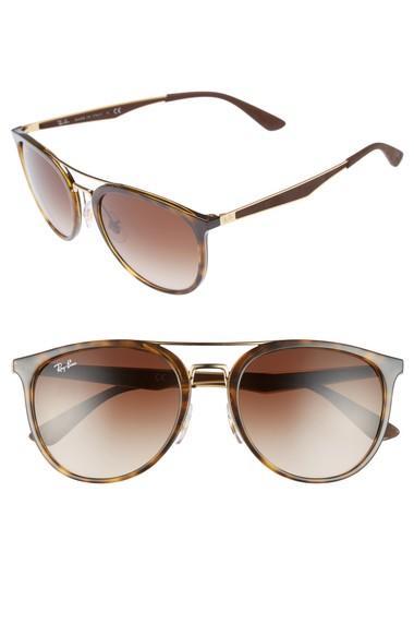 Ray Ban 55mm Gradient Lens Sunglasses - Light Tortoise