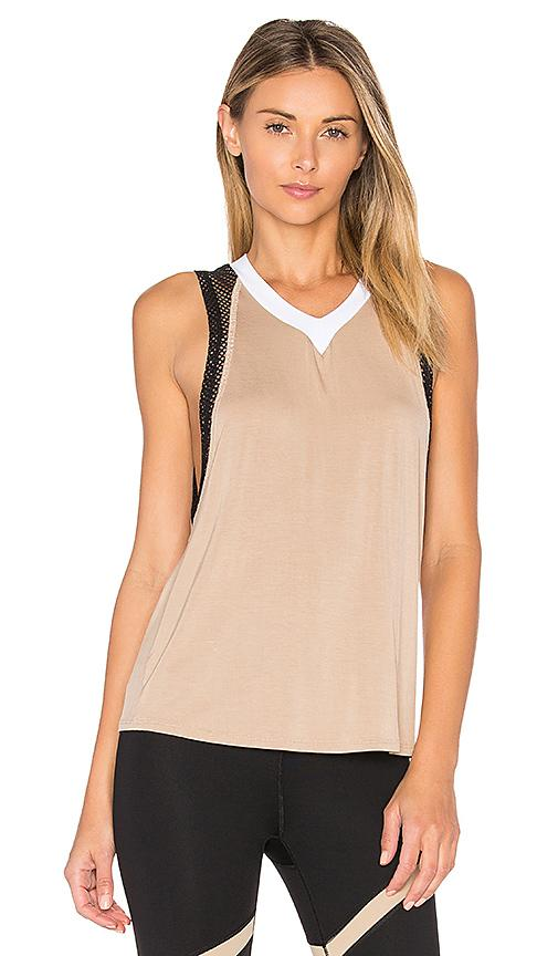 Body Language Pax Tank In Coco, White & Black Mesh
