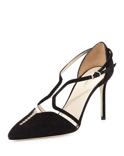 Giorgio Armani Suede T-Strap Illusion Pump In Black