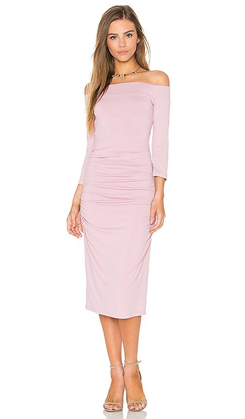 Susana Monaco Gathered Off Shoulder Dress In Pink