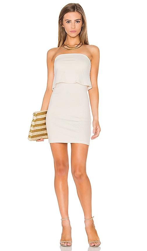 Susana Monaco Strapless Overlay Dress In Beige