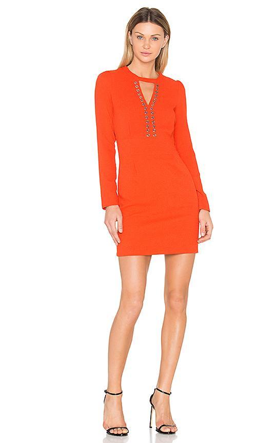 Ikks Paris Long Sleeve Keyhole Dress In Orange