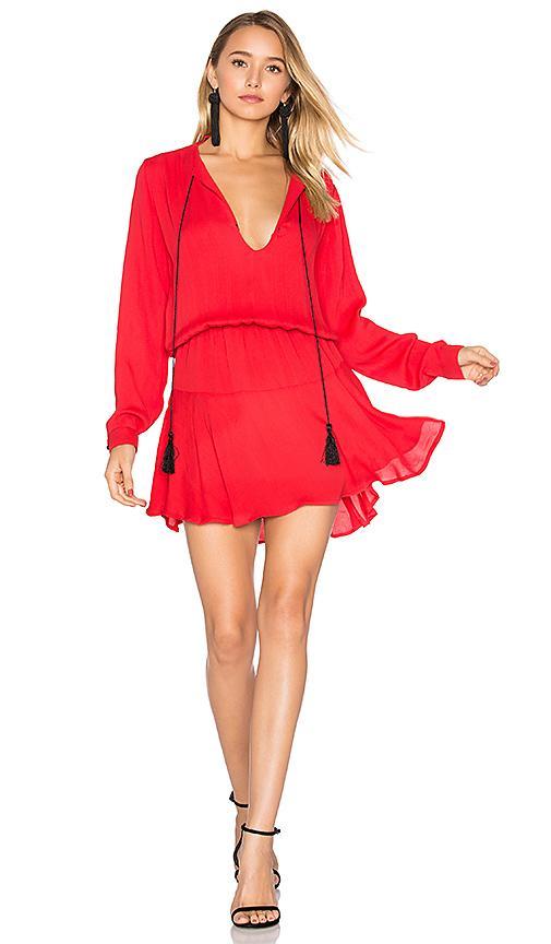 Karina Grimaldi Pilar Solid Mini Dress In Red