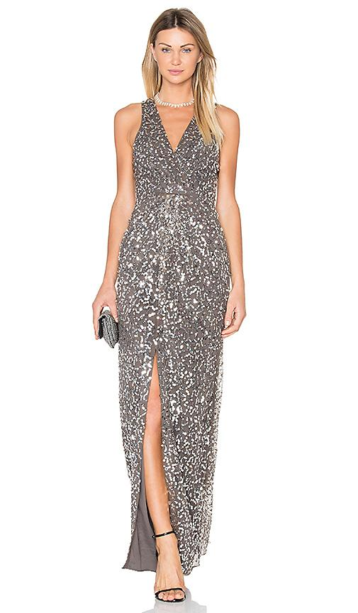 X By Nbd Genevieve Gown In Silver Sequin