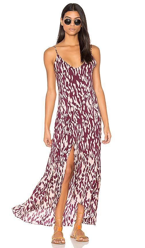 Vix Swimwear Bali Elma Long Dress In Burgundy