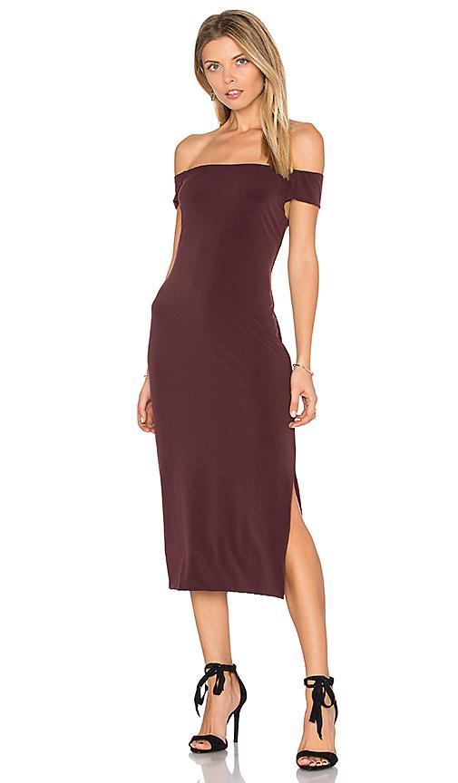 Velvet By Graham & Spencer Francella Off Shoulder Midi Dress In Vino