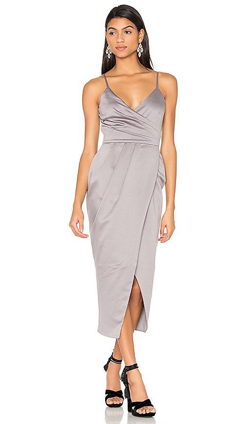 Lavish Alice Satin Wrap Midi Dress In Silver