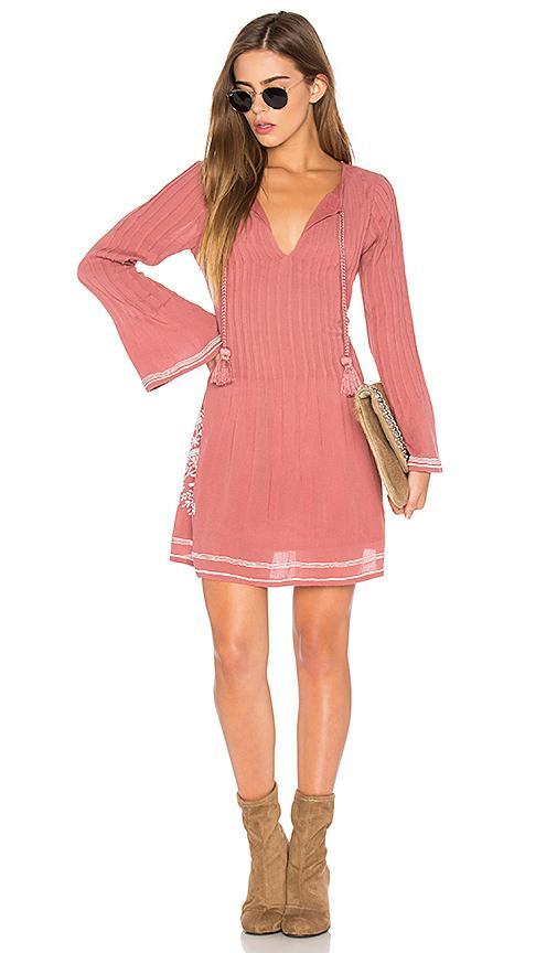 Tularosa Audrey Embroidered-trim Dress, Light Pink
