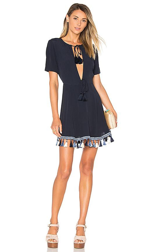 Tularosa Tallulah Tassel A-line Dress In Navy
