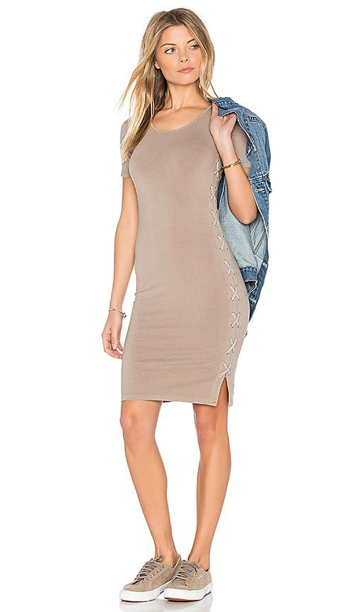 Monrow Fitted Lace Up Dress In Taupe