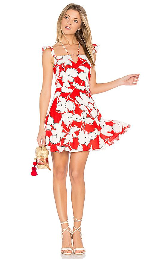 J.o.a. Flower Print Dress With Ruffle Shoulder In Red