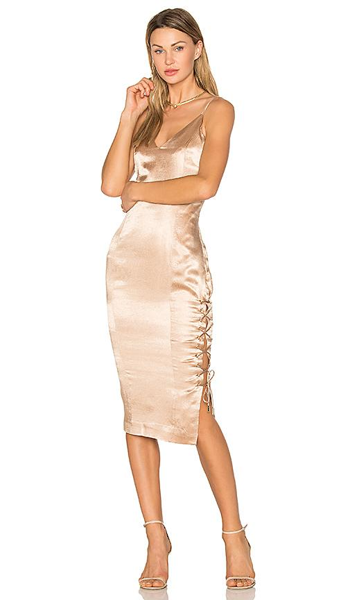 Misha Collection Tarin Slip Dress In Metallic Gold