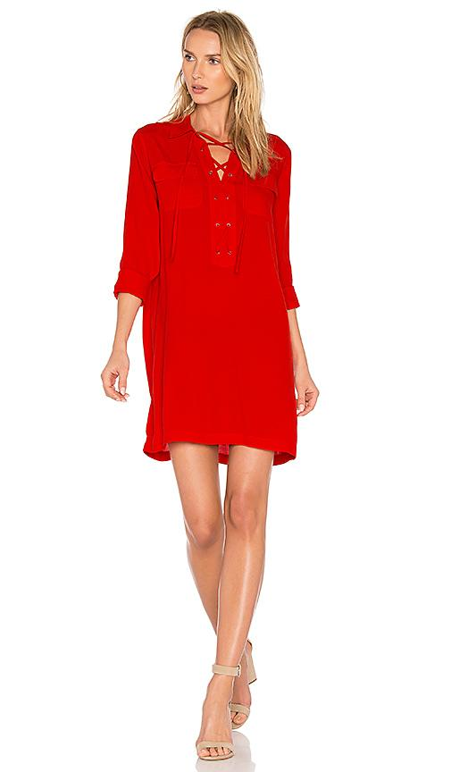 1.state Lace Up Pocket Dress In Red