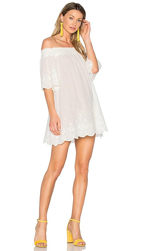 Minkpink Athena Broderie Anglais Off Shoulder Dress In White