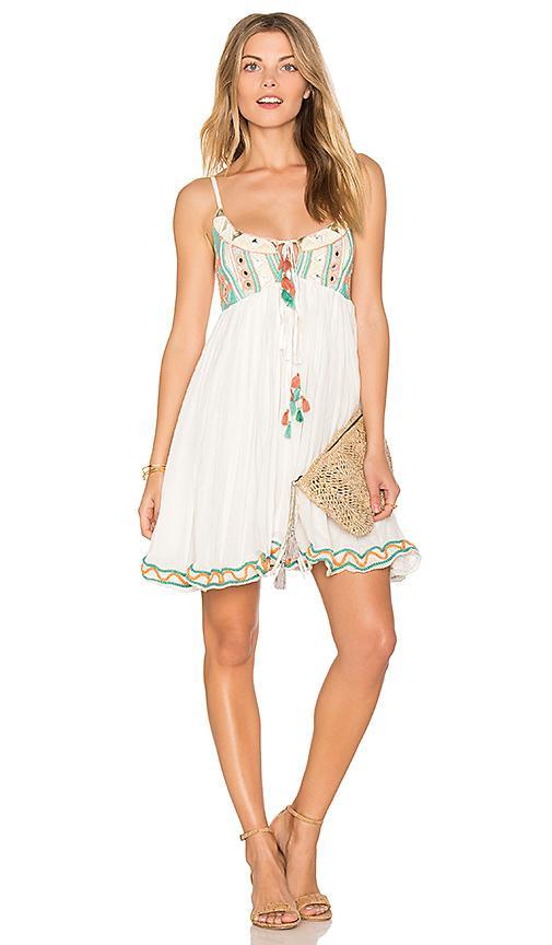 Raga Coastland Babydoll Dress In White