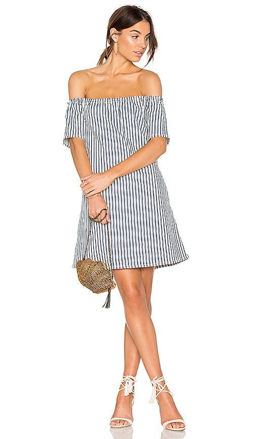 Ag Harley Dress In Blue, Stripes, White.