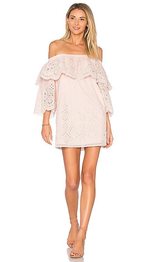 Parker Cathy Eyelet Off-the-shoulder Dress, Blush