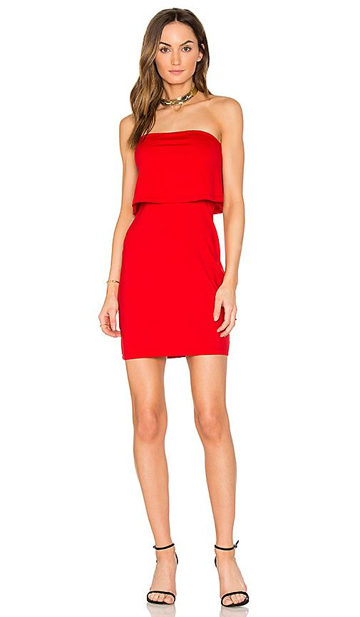 Susana Monaco Strapless Overlay Dress In Red. In Perfect Red