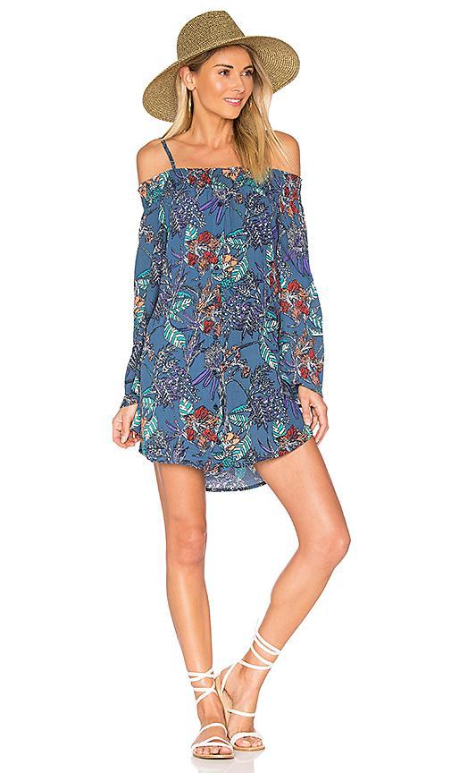 Aila Blue Gypsy Mini Dress In Faded Floral