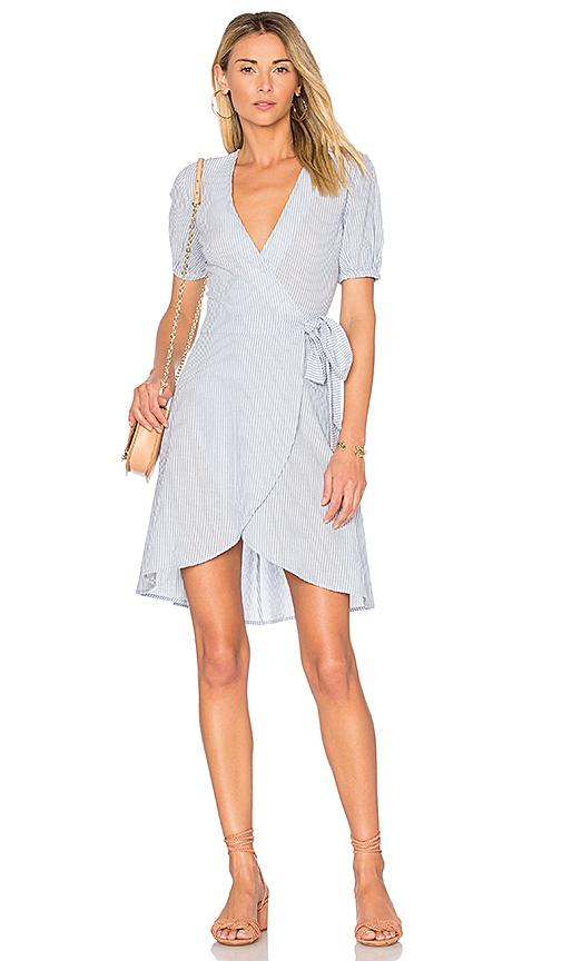L'academie X Revolve The Hi-low Wrap Dress In Blue